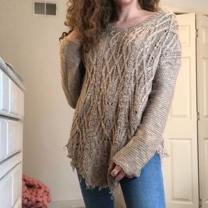 Altar'd State Chunky Fringed Cable Knit Sweater